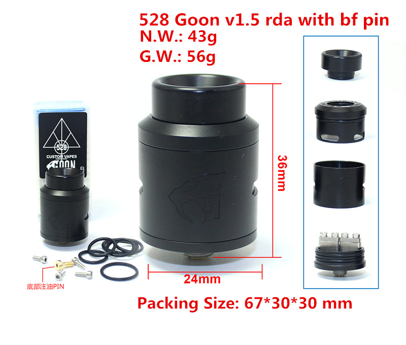 The best selling items Goon v1.5 24mm rda atomizer with bf pin POM drip tip for vape electronic cigarette