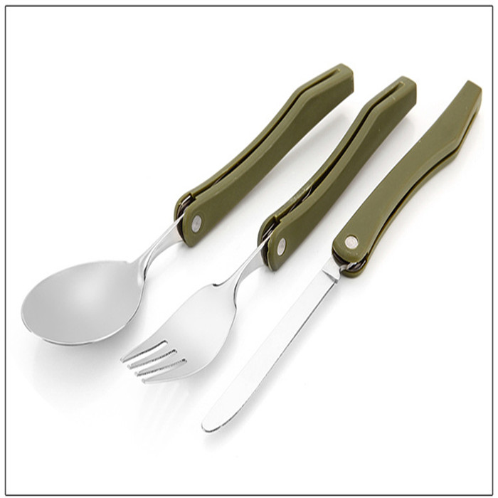 Portable Folding Camping Tool Stainless steel outdoor tableware Folding Fork Spoon Knife Picnic Western Dinnerware Camping Set