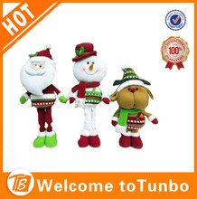 China supplier decorations funny xmas doll santa standing christmas plush toys