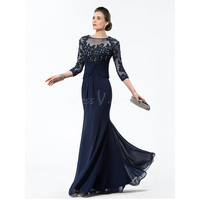 2015 Hot Sale Top Beaded 3/4 Long Sleeves Trumpet Mermaid Navy Blue Mother of the Bride Dress