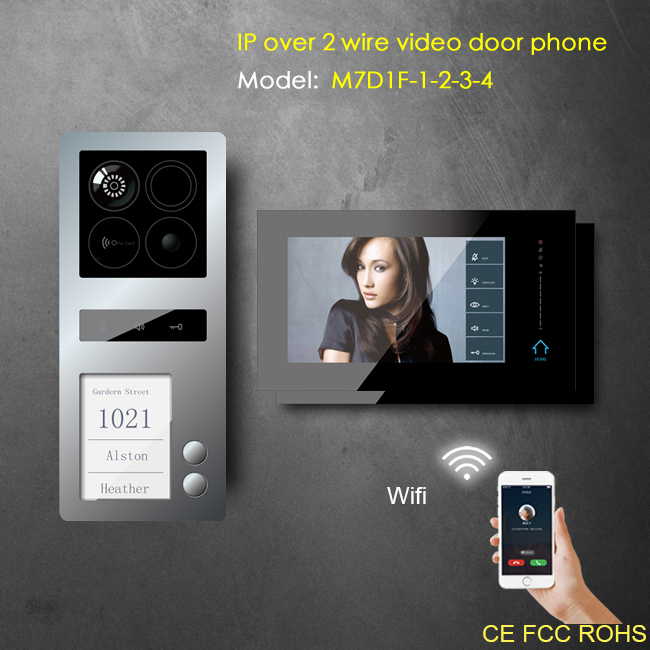 7inch capacitive LCD ip video door bell for house and apartment