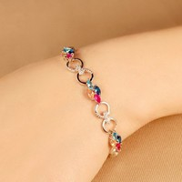 China SJ Exporter Unique Design BLLD0019 Gold Plated Brass Colorful Lucky Clover Tennis Bracelet for Women 3 Colors