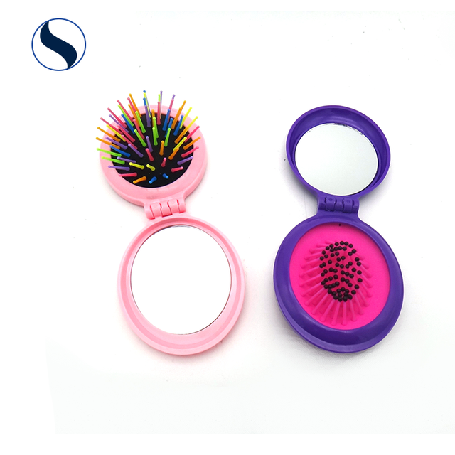 portable small round professional magic health massage plastic foldable hair comb with mirror