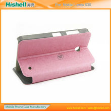 Manufacture in china PU and PC flip leather case covers for Nokia Lumia 630