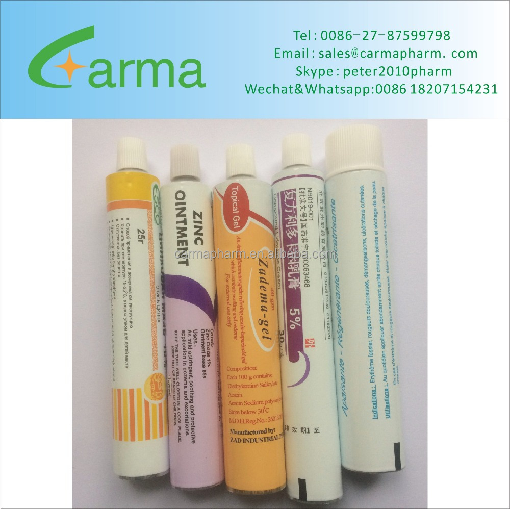 Medicine Aluminium Collapsible Cream Tubes pharmaceutical ointment tubes