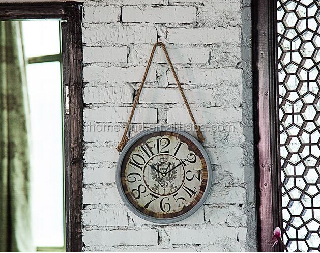 new design vintage wall clock with hemp rope for wall hanging