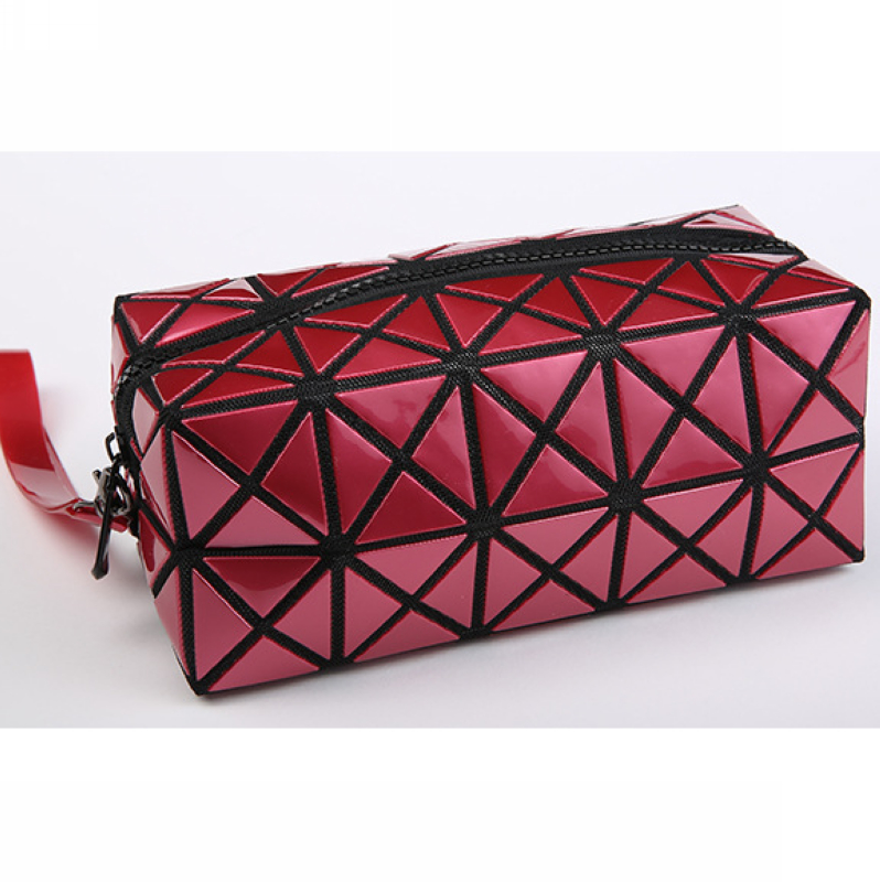 PU diamond shape geometry silver cosmetic bag