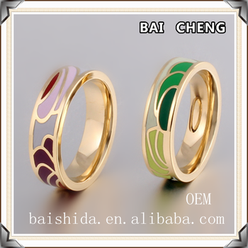 New fashion OEM Enamel rings Multicolor with Gold plated stainless steel ring in factory price