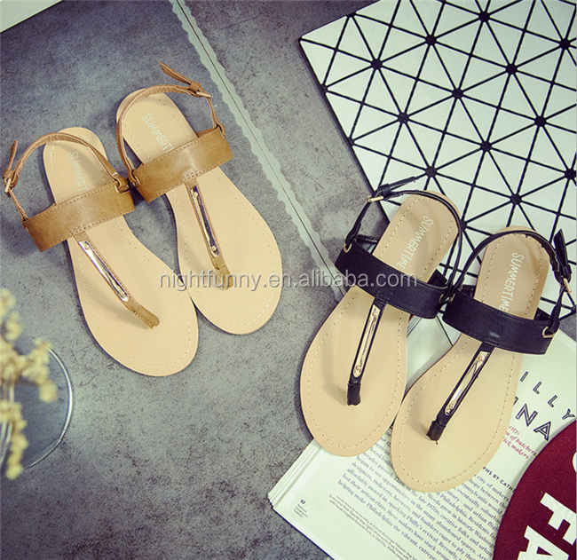 2016 Summer New Arrival Flat Buckle Thong Flip T-strip Flat Sandals
