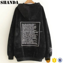 Unisex Oversized Loose Custom Blank Men Wholesale Velour Hoodie