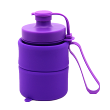 wholesale compress blank 0.8L silicone plastic collapsible water bottles Travel Outdoor kettles