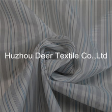 Shiny Blue Black and White Striped Polyester Lining Fabric