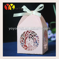 Wholesale and retail laser cut wedding paper boxes with free ribbon