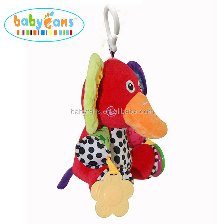 Baby musical hanging toy stuffed elephant plush baby toy manufacturers china