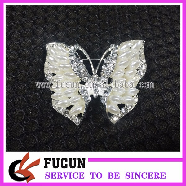 Wholesale Cheap Jeweled Ivory White Pearl Crystal Butterfly Wing Brooches