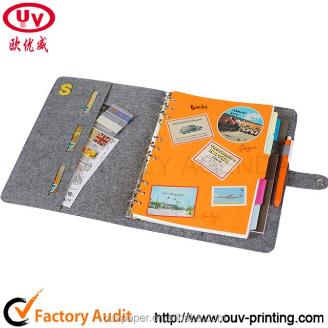 High quality cloth notebook binder organizer/,calendar /planner/agenda