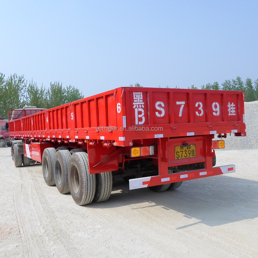 China Manufacture 3 Axles 40 ton Side Wall Flatbed Fence Semi Trailer for sale