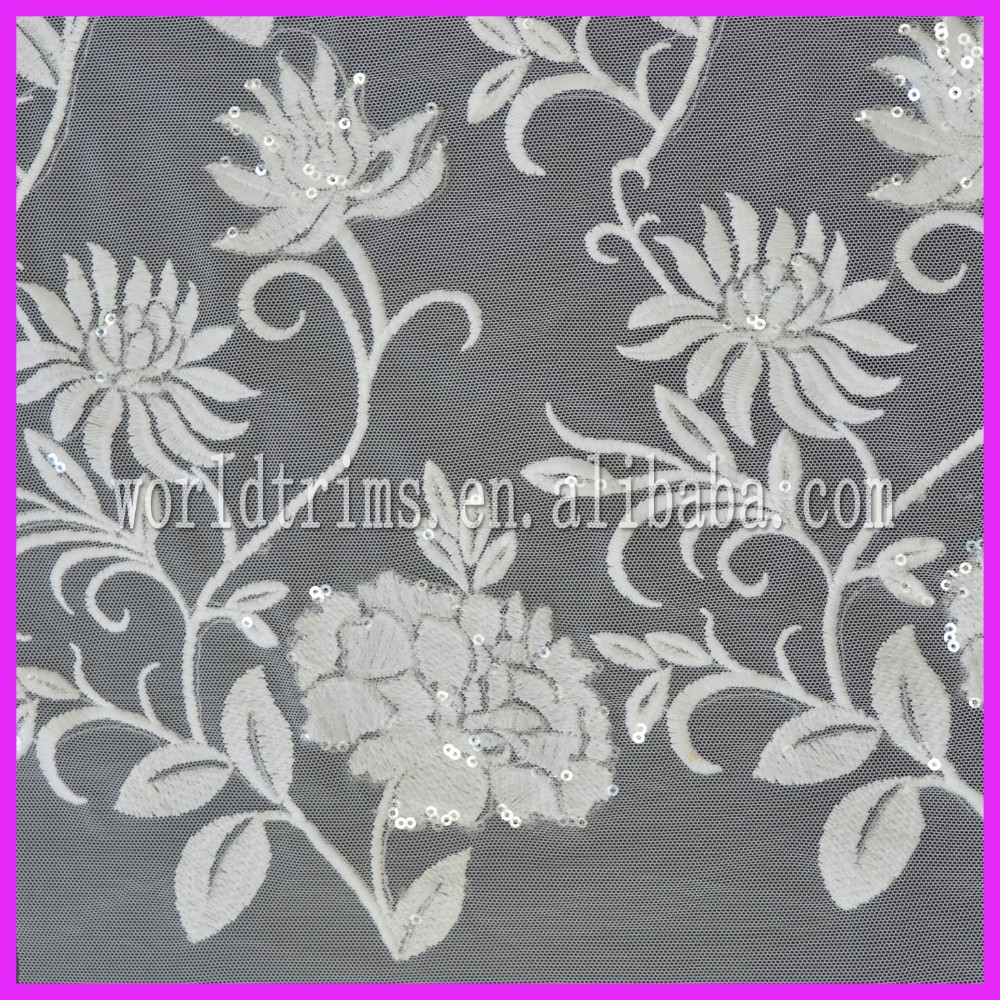 New design sequins swiss voile full lace/african velvet embroidered lace fabric for evening dress WLF31