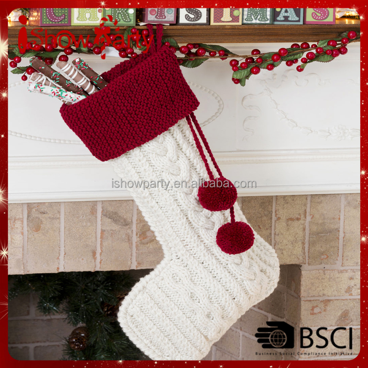 Hot Sale Wholesale Xmas Decoration Knit Cable Stocking Christmas Pattern