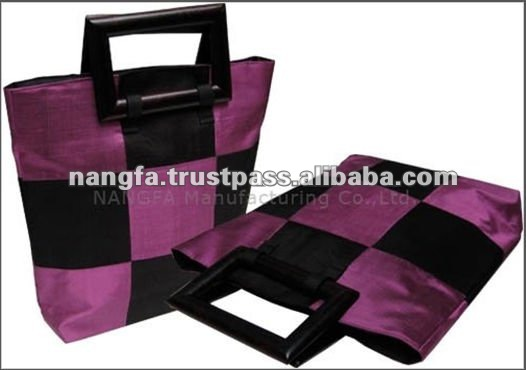 Thailand Mango Wood Handles Fashion Silk Handbag