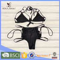 Fancy Latest Stylish Black Bandage Sexy Lady Bathing Suit Factory