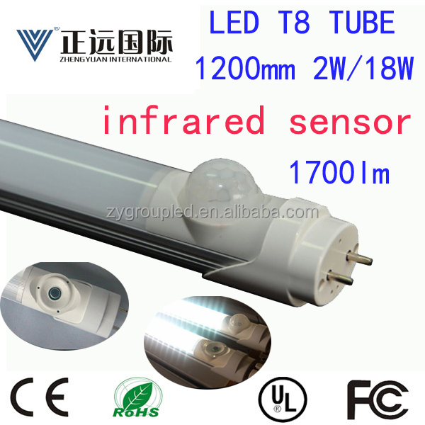 1200mm EMC/LVD/CE/FCC listed 4ft t8 led radar motion sensor tube light 18w 20w with 5 years warranty
