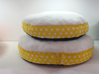 Yellow cute circle shape dog bed/cheap round shape dog mat /cat bed