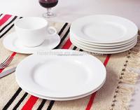 Super White Ceramic China Dinnerware Round Wholesale Porcelain Dinner Set