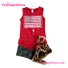 2017 Lady Custom USA Flag Sleeveless Loose Red Blank Lady Crop Tops