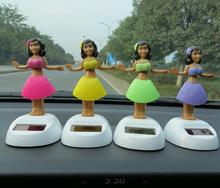 Solar dancing girl figure solar bobble head car ornaments alibaba hawaii doll
