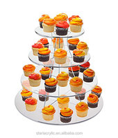 Clear Acrylic Large 16 Inch 4 Tier Full Circle Cup Cakes Riser Display Stand Plexiglass Wedding Party Cake Holder Stand
