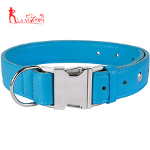 Soft Leather Dog Collar, Metal Side Release Buckle Collars for Dogs, Adjustable PU Leather Pet Collars