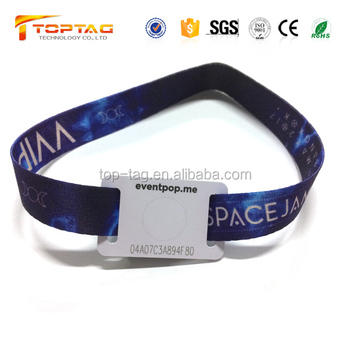 ISO 14443A NFC Wristbands NTAG 213 with Resuable Festival Wristband Clasp