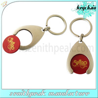 Promotional Shopping trolley token keychain/token keyring/token key holder