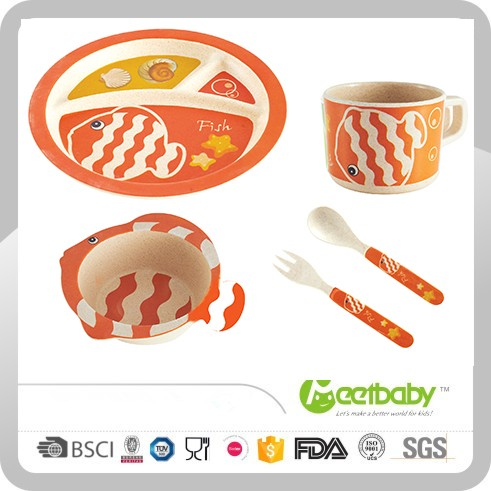 High Quality Lead Free BPA Free New Design Eco Bamboo Plates dinnerware,Kids Dinner Set