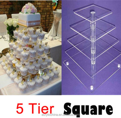 Beautiful clear 5 tier acrylic wedding cake stand wholesale