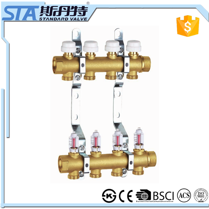 ART.5001 linear Pipe fitting Brass Manifold For Underfloor Heating System Brass Bar Manifold With Thermostatic Valve With Valve
