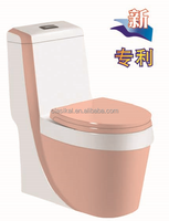 Pink color NEW design siphonic one piece ceramic toilet