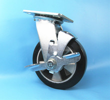 6inch 150mm Aluminum Core Rubber Trolley Heavy Duty Caster Wheel With Siding Brake and double ball bearing 6203