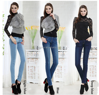 2015 Spring New Pencil Jeans Women Females Skinny Fashion Light Blue Cotton Soft Stretch Denim Pants Jeans For Women wear
