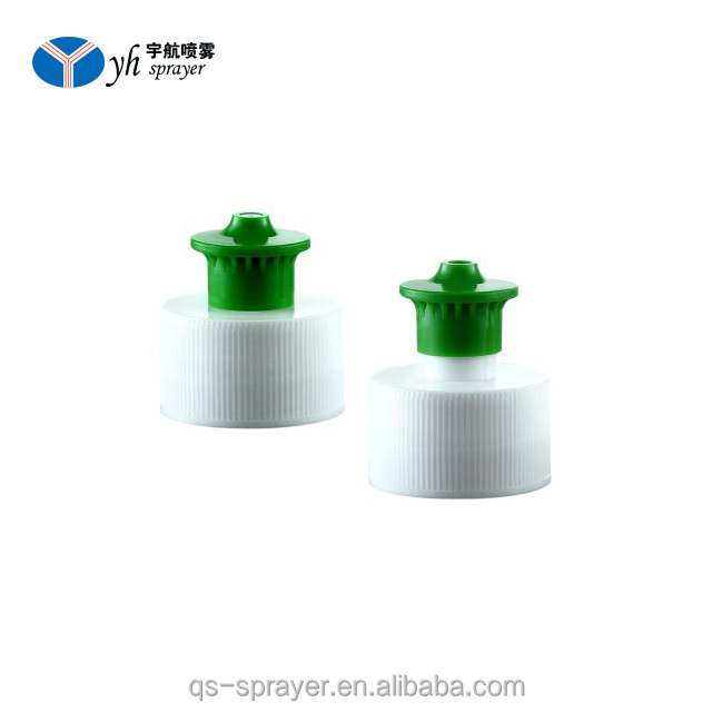 28mm Plastic water Bottle Push Pull cap PP sports water cap, colorful ribbed closure
