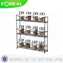 Spice Jar Rack Wall Mount 3 Shelves Organizer Holder Storage Kitchen Black NEW