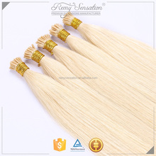 High quality indian remy hair extension italian keratin stick i tip hair fusion for honey blonde