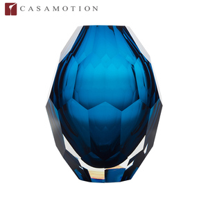 Hot Sale CASAMOTION Mouth Blown Multilateral Polished Glass Vase in Blue Color for Home Decoration