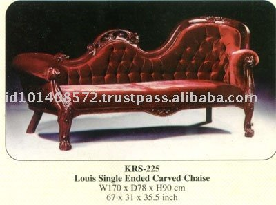 Louis Single Ended Carved Chaise Mahogany Indoor Furniture