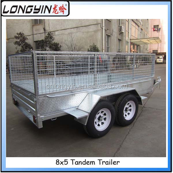 Hot dipped galvanized tandem cage trailer/double tandem car trailer