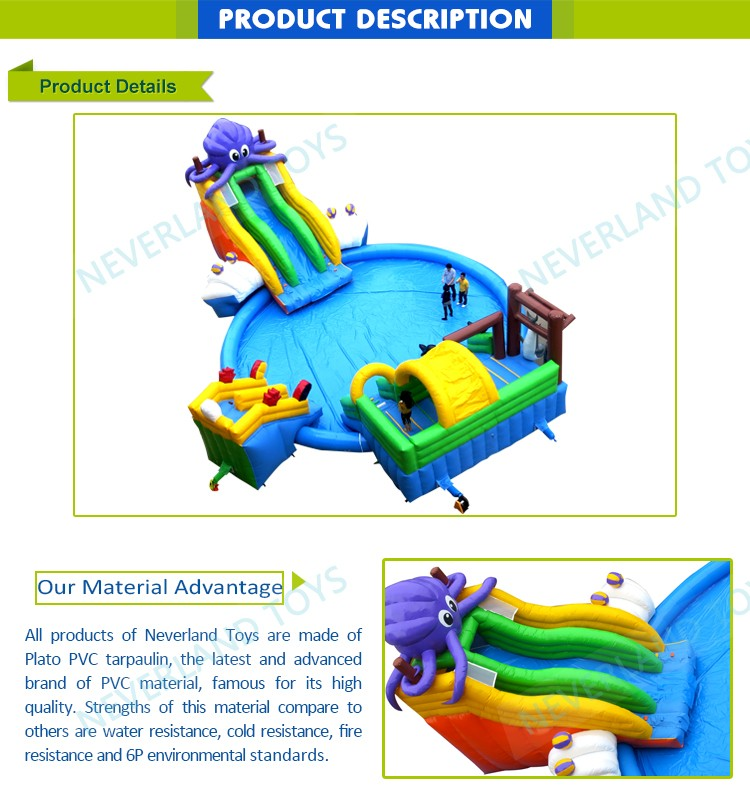 Cheap NEVERLAND TOYS Funny Purple Octopus Park Water Slide Giant Inflatable Hot Summer Sell 2019
