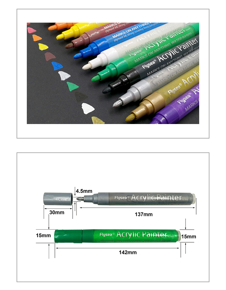 Direct selling oem 12 colored suitable any surface permanent waterproof professional paint pen marker
