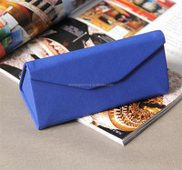 PU Triangle Handmade Optical Case Folding Glasses Case, Metal Sunglasses Box Foldable Eyeglasses Case, Hard Eyewear Display Case