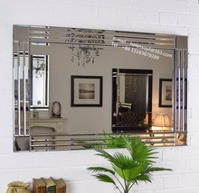 Large Frameless Bathroom Mirror Silver Triple Bevelled Venetian Wall Mirror 91cm X 61cm